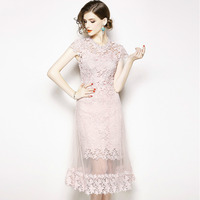 eca37f53eb12 Women S 2019 Summer Water Soluble Lace Pink Dress Flower Crochet Hollow Out  Vestido Mesh Tulle