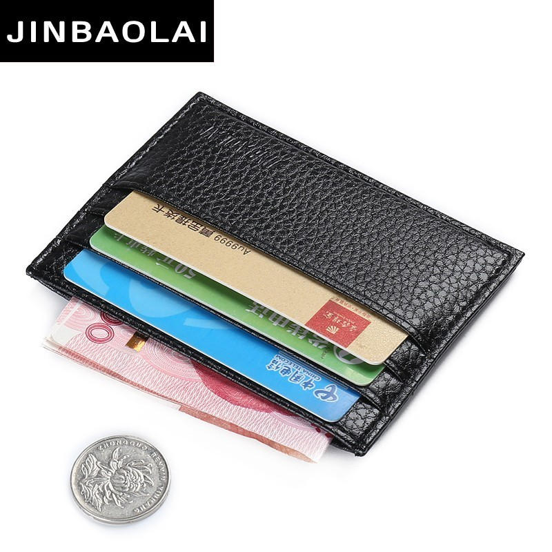 купить JINBAOLAI Vintage Slim Mini Artificial Leather Credit ID Card Holder Wallet Purse Bag Pouch Book Cover Case Dollar Price Holder онлайн