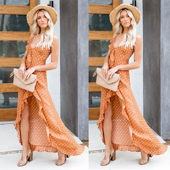 2019 Summer New Sexy Split Ruffled Sling Black Wave Dress Kylie jenner Spaghetti Strap Dress Vestiti Donna Eleganti Orange Dress