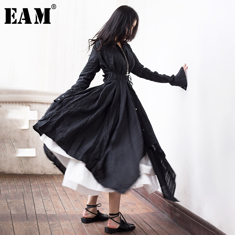 EAM 2019 New Spring Summer Lapel Long Sleeve Black Fold Spliced Bandage Irregular Hem Shirt