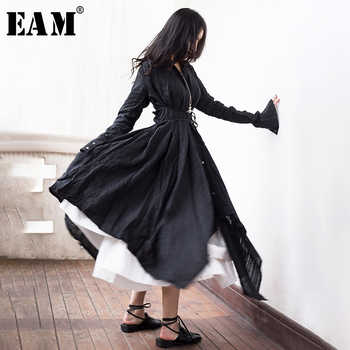 [EAM] 2019 New Autumn Winter Lapel Long Sleeve Black Fold Spliced Bandage Irregular Hem Shirt Dress Women Fashion Tide JR388 - DISCOUNT ITEM  17% OFF All Category