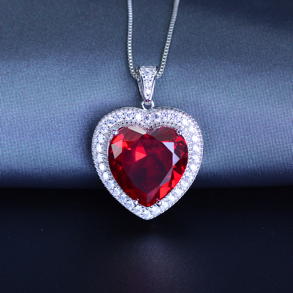 PANSYSEN Fine Jewelry Heart Pendant Necklaces For Women Natural Red Ruby Engagement Wedding Sterling 925 Silver Chain Necklace in Necklaces from Jewelry Accessories
