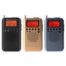 Na zewnątrz przenośne AM/FM wieża stereo HRD 104 kieszeń 2 zespół cyfrowy strojenia radia mini odbiornik na świeżym powietrzu Radio z słuchawki smycz