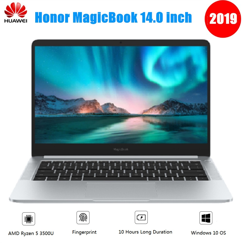 2019 huawei Honor MagicBook Тетрадь 14 дюймов ОС Linux AMD Ryzen 5 3500U 8 Гб 256 ГБ/512 ГБ SSD Radeon Vega 8 отпечатков пальцев для ноутбука