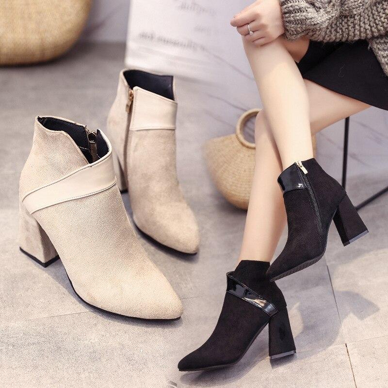 Mode Bout Zip Solide Plate Grande Troupeau Pointu De Femmes forme Chelsea Taille Carré Talon Bottines Décontracté Med Chaussures D'hiver noir Beige oeBdCrEQxW