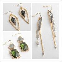 Free shipping vintage luxury geometry Zircon green crystal earrings ear clip triangle tassels pearl earrings female