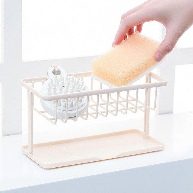Organizador Prateleira Pia Da Cozinha Fique Destacável Acessórios Camada Dupla Titular Sabão ABS Esponja de Lavagem Do Banheiro Rack de Armazenamento De Drenagem