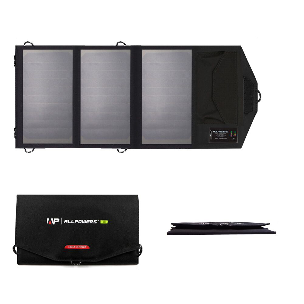 ALLPOWERS 5 V 15 W cargador de batería Solar portátil 6000 mAh Dual USB tipo-C de Panel Solar plegable al aire libre banco de energía Solar - 5