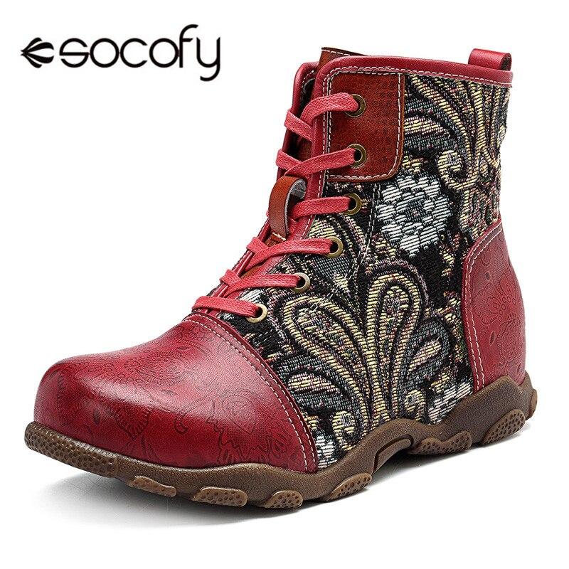 Socofy Vintage motocicleta tobillo botas Mujer Zapatos Mujer cuero genuino Bohemian Western Cowboy botas Casual zapatillas botines-in Botas hasta el tobillo from zapatos    1