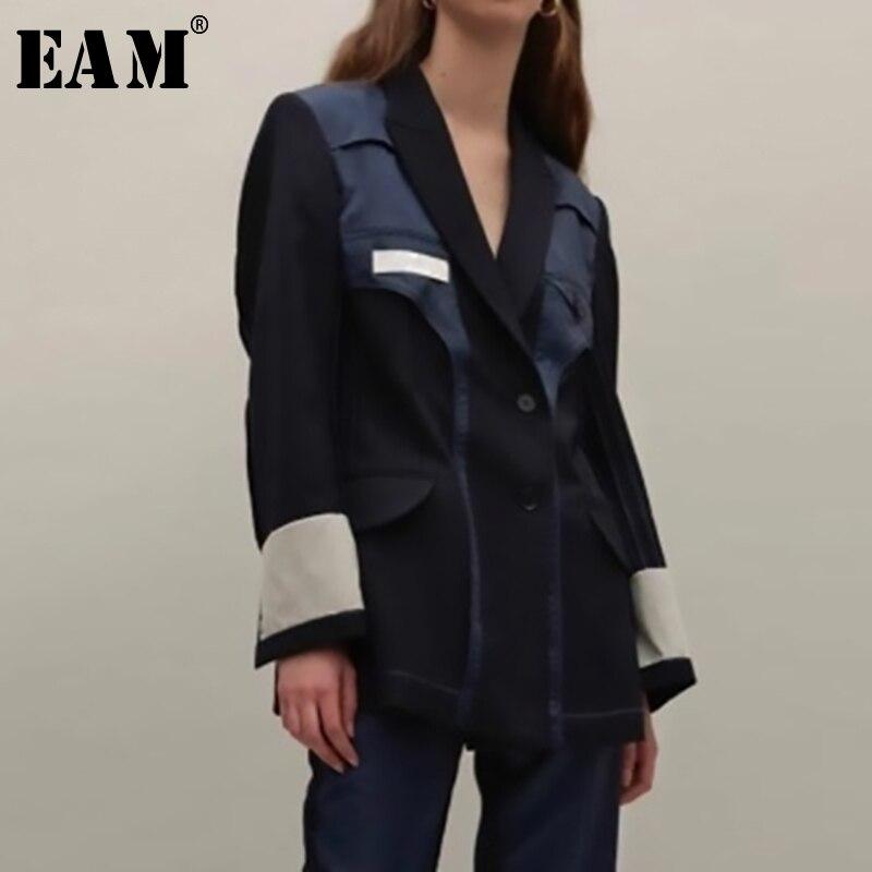 [EAM] 2020 New Spring Autumn Lapel Long Sleeve Hit Color Split Joint Loose Personality Jacket Women Coat Fashion Tide JU179