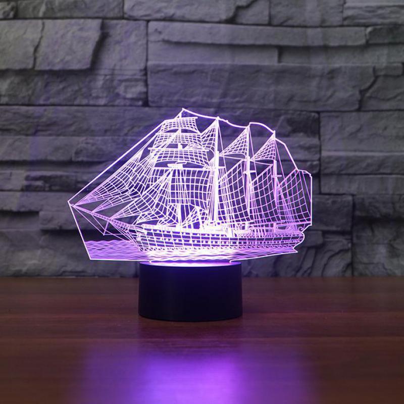 Creative Products Sailing 3d Lamp Led Decorative Table Nightlight Cactus Decoracion Led Usb 3d Light Fixtures
