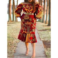 fe9af1af2 Summer Party Elegant Sexy Women Dresses Casual Plus Size Beach Style  Lantern Sleeve Floral Print Ethnic
