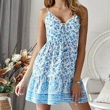 Women Boho Dresses Spaghetti Strap Floral Short Mini Dress Party Evening Summer Beach Holiday Fashion V-Neck Print Sun Dress
