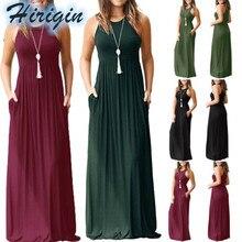 Summe Dresses Casual Womens Sleeveless O-Neck Loose Casual Dress Solid Elaistic High Waist Long Dress цены