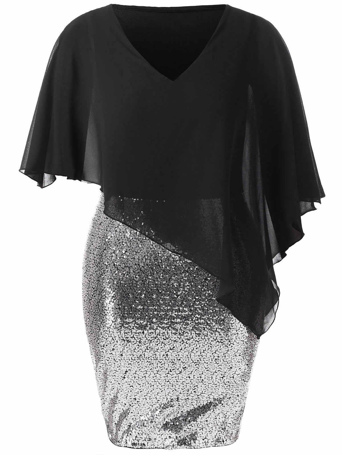 2f42f23b160ab ... Wipalo Plus Size Chiffon Overlay Sequin Capelet Dress Women Bodycon  Dress V-Neck Party Dresses ...