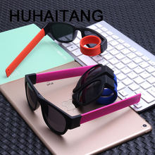 HUHAITANG Slap Polarized Sunglasses Women Slappable Bracelet Sun Glasses For Men Luxury Wristband Festival Folding Sunglass Lady(China)