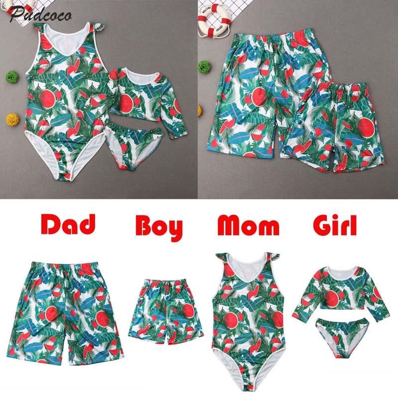 a7c0d74afd Detail Feedback Questions about 2019 Brand Mother Father Daughter Son  Family Matching Watermelon Swimsuit Women Girl High Waist Bikini Set Men  Kids Boy ...
