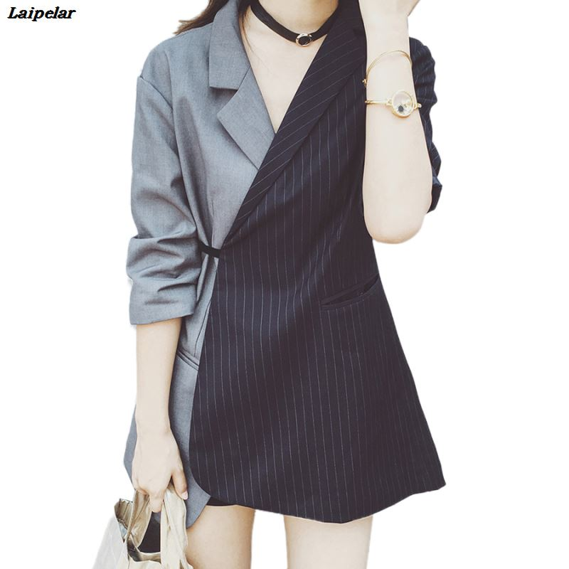 Runway Striped Blazer Women Jacket Blazer Fashion Tie Waist Jackets Elegant Ladies Office Workwear Wrap Blazes Suit Feminino