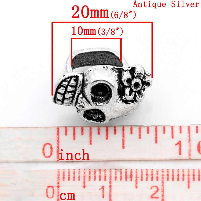 Spacer חרוזים גולגולת עתיק כסף פרח מגולף W/חיוג צלחת 20x13mm, 10 PCs (B23088)