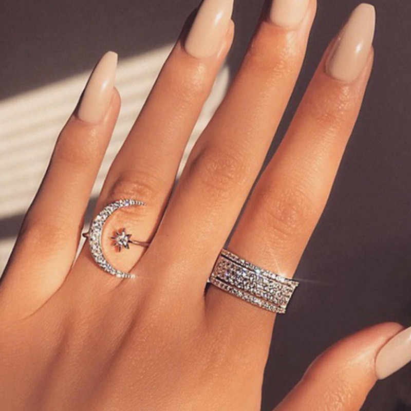 2019 New Moon Star Women Ring  Crystal Jewelry Silver Finger Rings Femme Opening Ring Female Grils Gifts