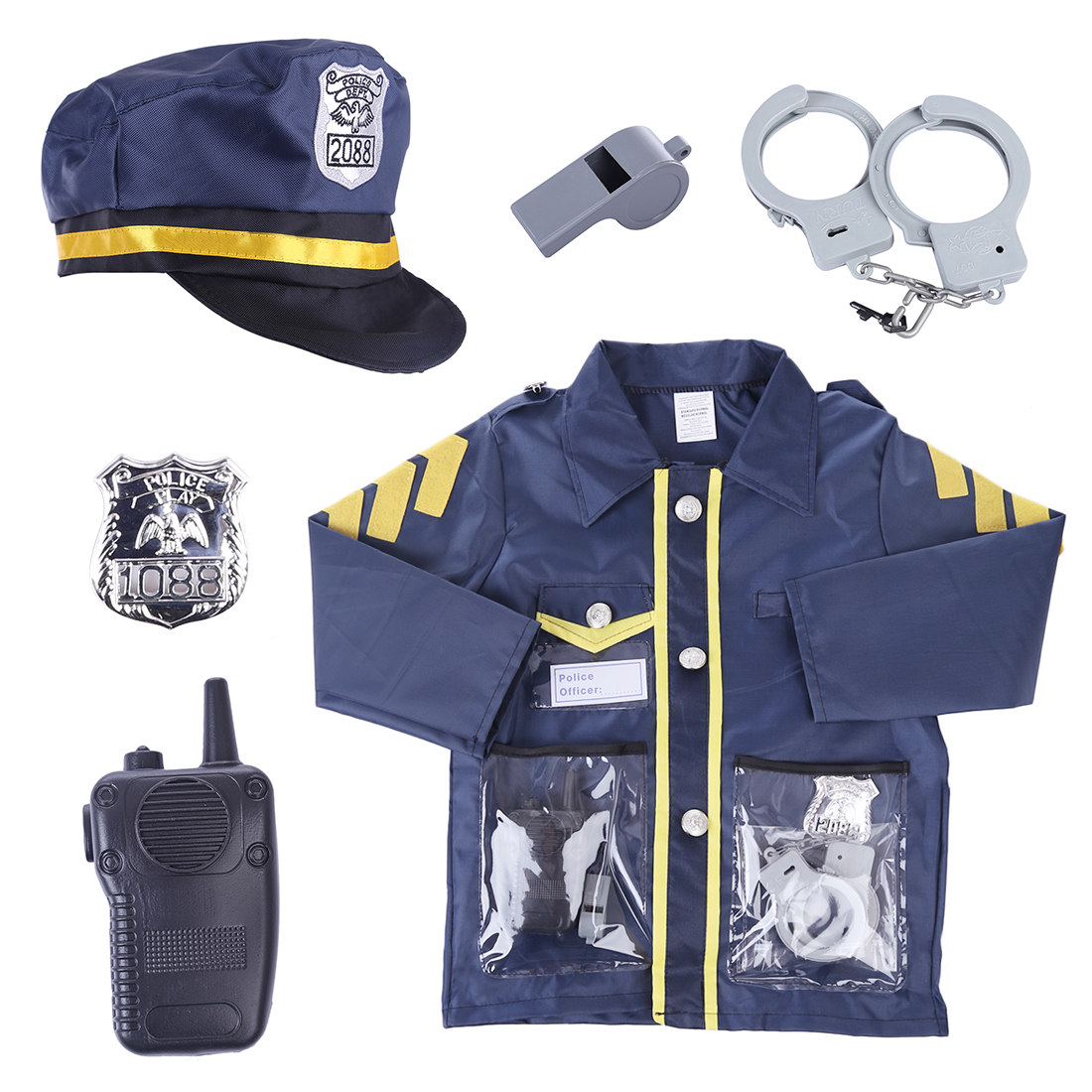 Durable 6Pcs Children Pretend Play Toys Simulation Policeman Playing Set For Boys Interest Development Role Play Kits