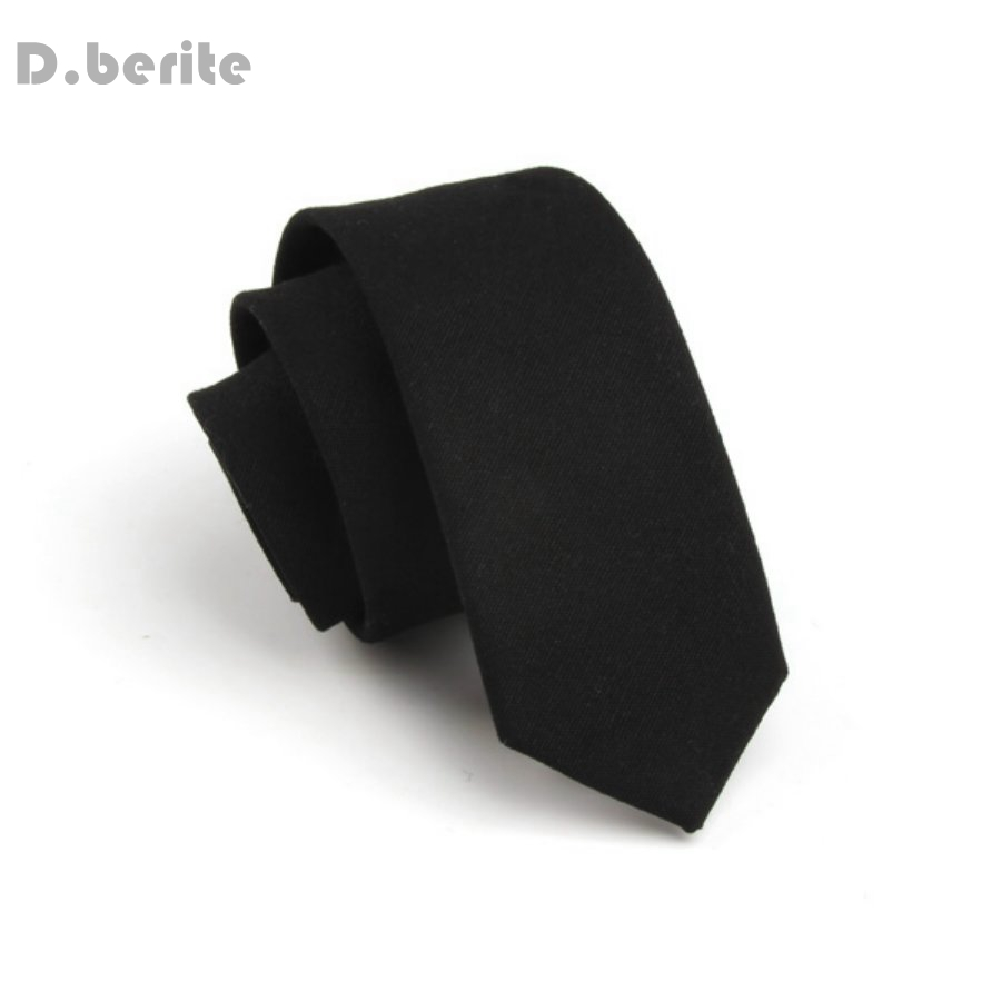 Для мужчин хлопок Галстуки Новые однотонные черные тонкий узкий галстук мальчишник бизнес галстук SK701