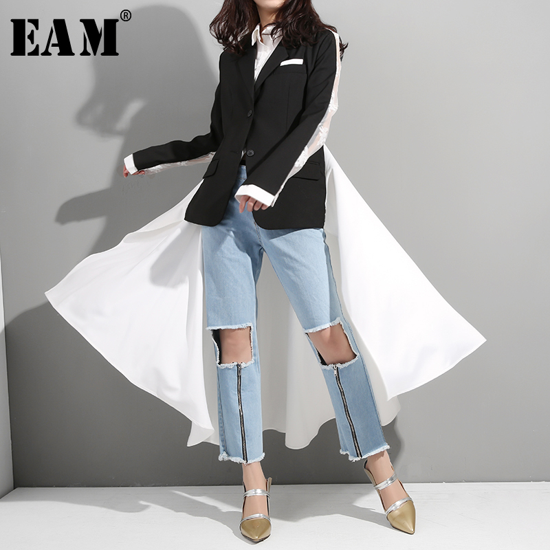 [EAM] 2019 New Spring Summer Lapel Long Sleeve Black Back Lace Split Joint Back Long Windbreaker Women   Trench   Fashion Tide JQ95
