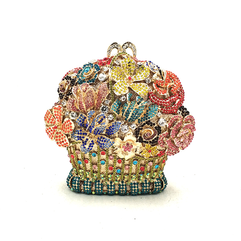 Luxury women evening party bag bridal wedding diamonds bag rhinestone accessories elegant flower basket crystal bag