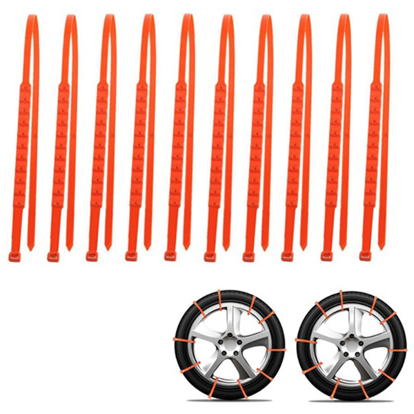 20Pcs/Lot Snow Tyre Tire Chains Winter Anti-Skid Beef Tendon Vehicles Wheel Nylon Orange Chain For Cars/Suv image