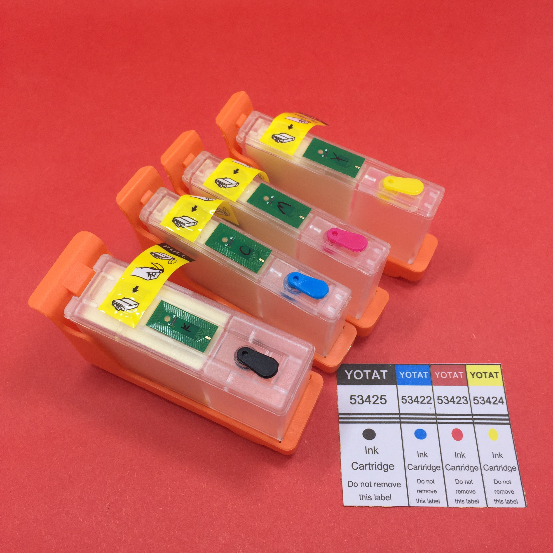 YOTAT 4pcs Empty Refillable Ink Cartridge 53425 53422 53423 53424 For Primera LX900 Printer