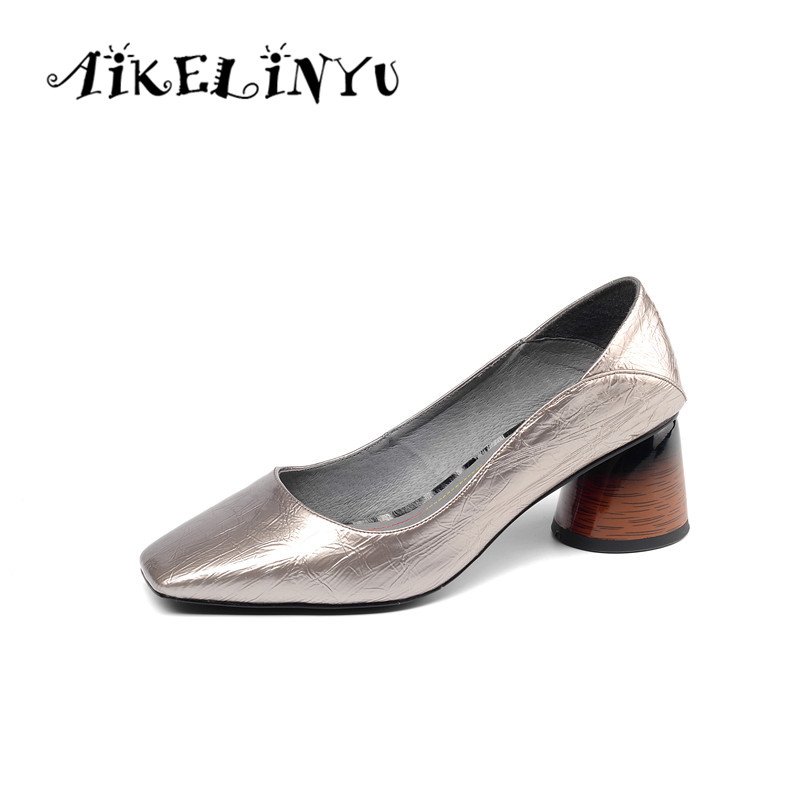 AIKELINYU Classics Women Pumps High Square Heel Cow Leather Career Head Slip-On Shoes Fashion Sexy