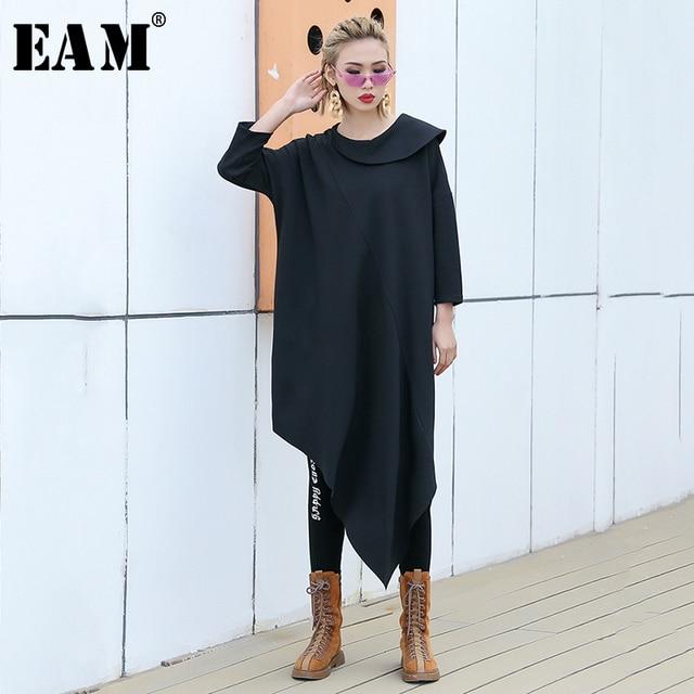 [EAM] 2019 Spring Summer Woman Stylish New Black Color Three Quarter Sleeve Irreular Neck Long Loose T-shirt All Match LI437