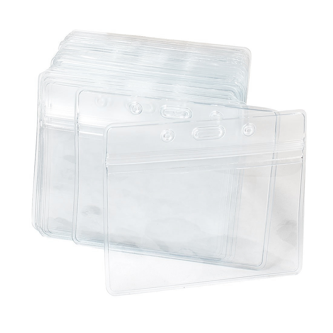 Plastic Horizontal Name Tag Badge ID Card Holders, 50-Piece, Clear