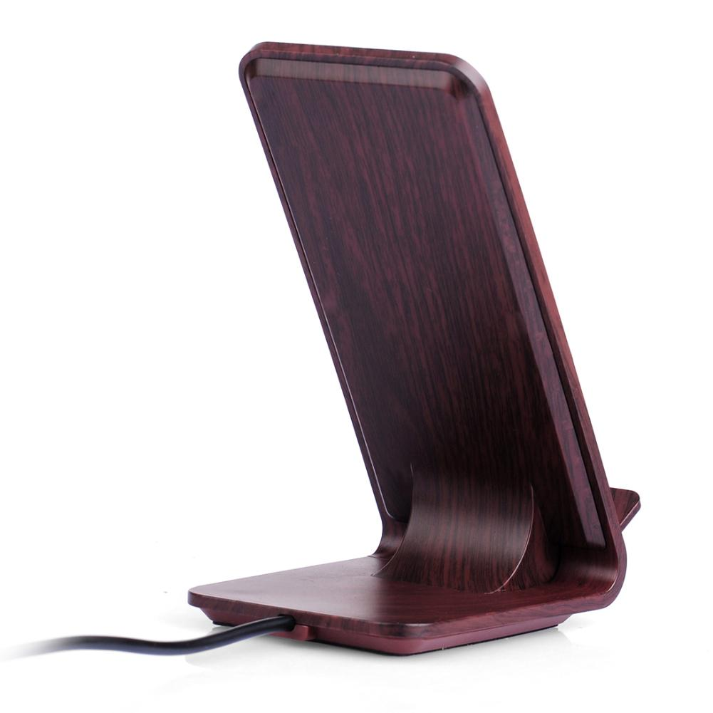 Wood Grain Fast 10w Wireless Charging Dock Charger Stand For IPhone X XS MAR XR 8Plus Samsung S9 S10Plus Huawei P20 Pro Xiaomi 9 in Phone Holders Stands from Cellphones Telecommunications