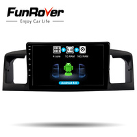 FUNROVER 9 2 din Android 8,0 Автомагнитола мультимедийный dvd gps плеер для TOYOTA Corolla E120 BYD F3 навигационная система, стереомагнитола WI FI RDS