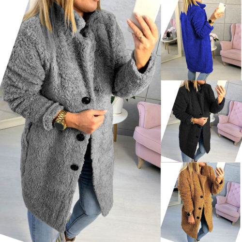 Fashion Women Fleece Fur Jacket Long Sleeve Chic Button Outwear Tops Winter Casual Fluffy Coat Ladies Warm Coats Clothing Female