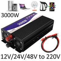 3000 Вт Инвертор 12 В/24 В/48 В до 220 В напряжение трансформатор конвертер Чистая синусоида мощность Инвертор + двойной ЖК экран