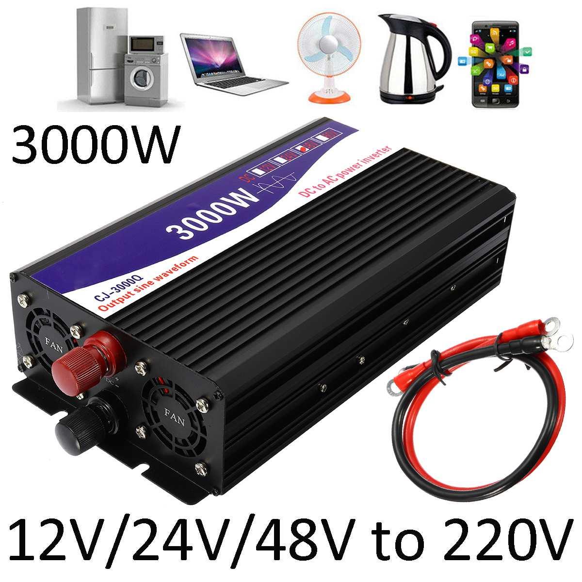 3000 w inversor 12 v/24 v/48 v para 220 v transformador de tensão conversor de onda senoidal pura inversor de potência + duplo display lcd