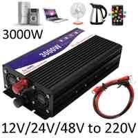 Inversor de 3000 W 12 V/24 V/48 V a 220 V convertidor de transformador de voltaje onda sinusoidal pura inversor de energía + pantalla LCD Doble
