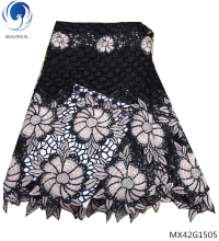 Beautifical black cord lace guipure flowers african fabric 2018 high quality materials MX42G15