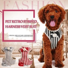 Classic Retro Stripes Small Dog Harness Vest Leash Suit Pitbull Mesh Puppy Harness Beagle Pet Accessories Cats Products For Pets