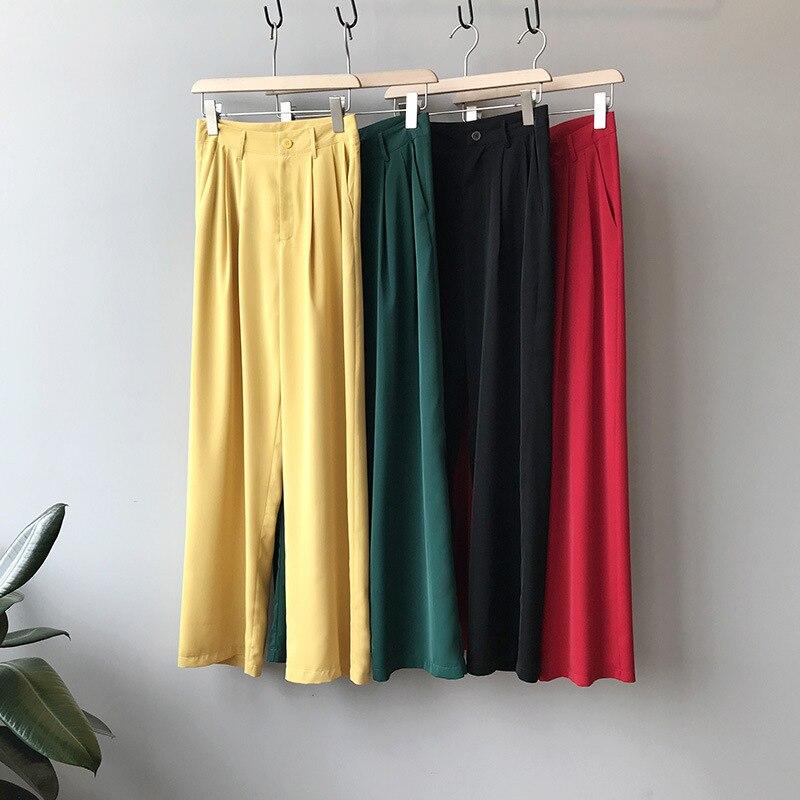 Mooirue Summer Wide Leg Pants Femme Harajuku Thin Slim High Waist Trousers High Waist Highwaist Lady Pantalon Bottom
