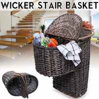 38x27x38cm Brown Woven Wicker Stair Step Basket Organizer Stylish Cosmetic Box with Handle Container Storage Clothes