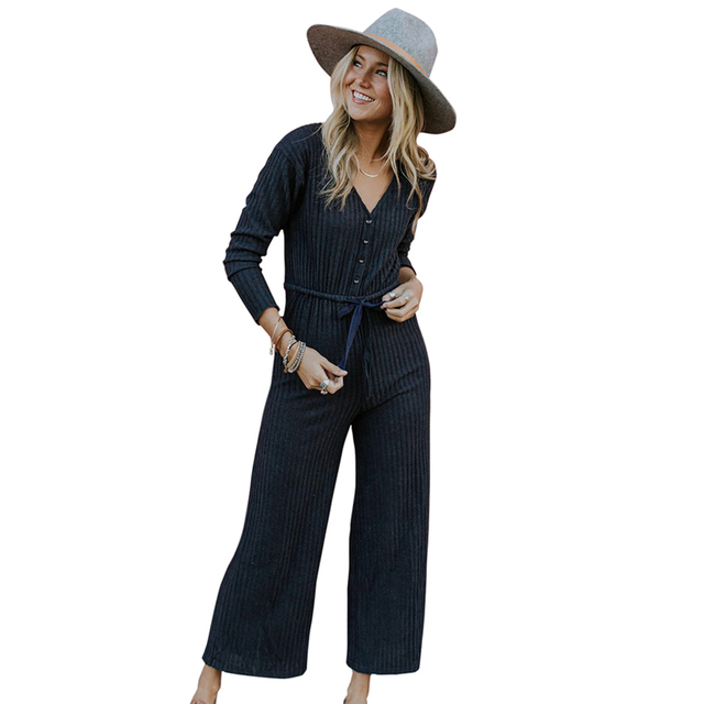 1e5e72c6f71 2019 New Fashion Women Ribbed Jumpsuit Solid V Neck Long Sleeve Button Slim Wide  Leg Pants