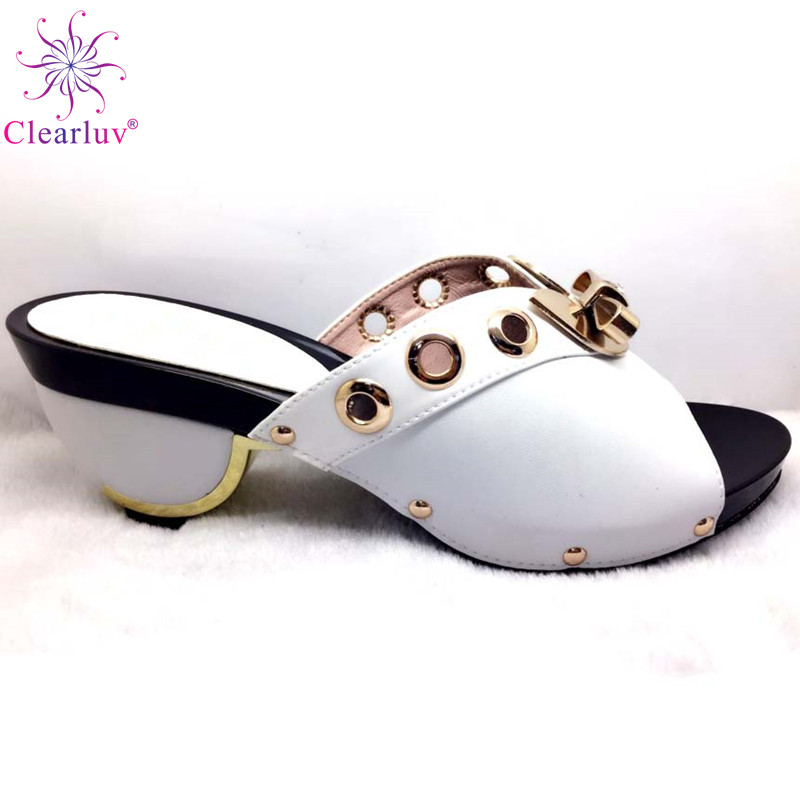 White Color Newest Italian Shoes Without Matching Bags PU Leather Comfortable Pumps Wholesales Good Price For Shoes Without Bag