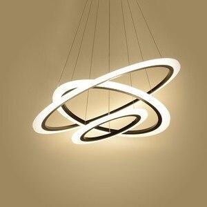 Image 4 - 現代のledシャンデリアダイニングリビングルーム指輪高級光沢時間白黒サスペンションランプとリモコン
