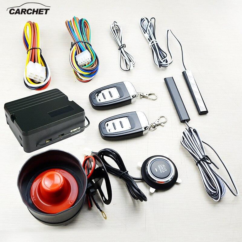 CARCHET nouveau système d'alarme antivol système de démarrage Intelligent à un bouton alarme de voiture de sécurité démarrage à distance sans clé passif