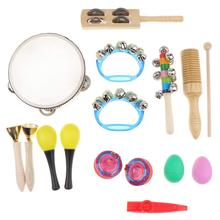 10pcs Musical Percussion Instrument Toy Tambourine Handbell Music Development Early Learning Educational Toys for Children Kids kids 8 note wooden musical toys teaching aid child early educational wisdom development music instrument baby toys gift