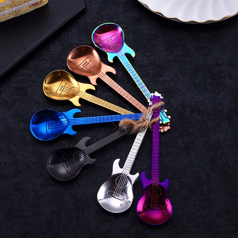 Cooking Accessories Stainless Steel  Guitar Shape Tableware 1PC Hot Rainbow Cute Rainbow Coffee Spoon Teaspoon Kitchen