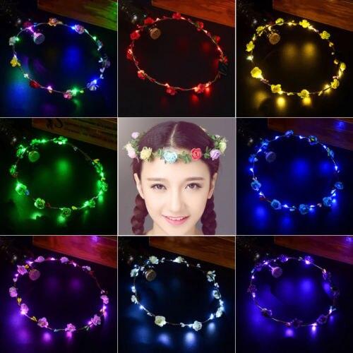 2019 New 8 Colors Girl Flower Headband Wedding Party Crown Flower Headband Led Light Up Hair Wreath Garlands